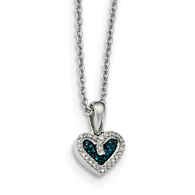 Sterling Silver Rhod Plated Blue and White Diamond Heart Pendant Necklace QP3645