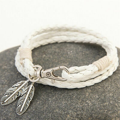 Fashion Retro Multilayer Leather Wristband Bracelet Cuff Bangle Women 06