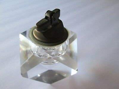 Vintage Solid lead crystal Glass & Brass Geodome Table Lighter Geodome Ball
