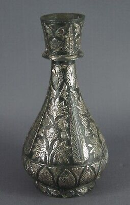 Good Small Antique 19Th Century Mughal Indian Silver Inlaid Bidri Bidriware Vase