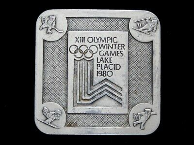 Nb25160 Vintage 1980 **Xiii Winter Olympic Games Lake Placid** Sports Buckle