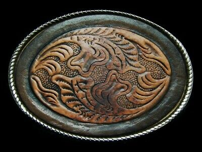 NE01175 VINTAGE 1970s **FLORAL ORNAMENTAL** WESTERN LEATHER JUSTIN BELT BUCKLE