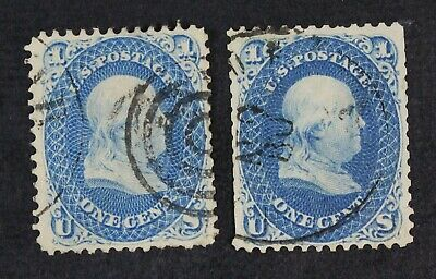 CKStamps: US Stamps Collection Scott#63 1c Franklin Used Lightly Crease