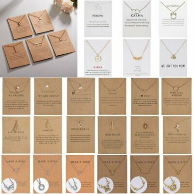 Women Animal Heart Necklace Pendant Clavicle Choker Chain Paper Card Style Gift