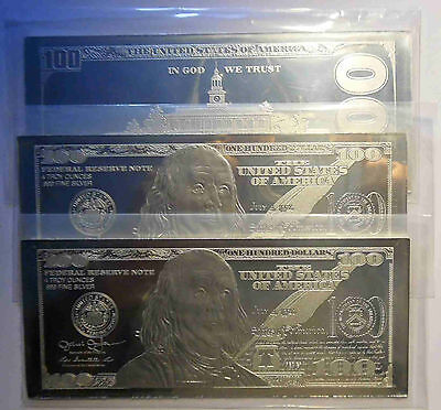 3 X 4 oz CURRENCY SILVER BARS = 12 OZS DISCOUNTED! 2019 FRANKLIN $100 + COA