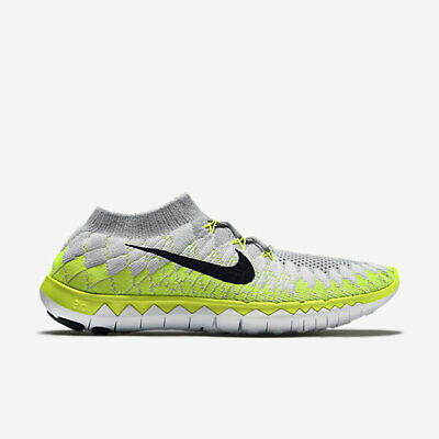 newest 27bfa 98177 Nike Free 3.0 Flyknit Blanc  Noir  Volt   Gris Homme Chaussures Course
