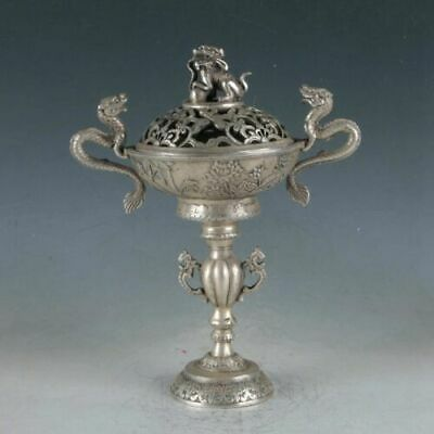 High Chinese Old Hand-Made Dragon Statues Tibet Silver Incense Burner