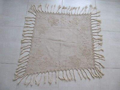 Antique hand knotted macrame flowers with tassels table cloth piano shawl