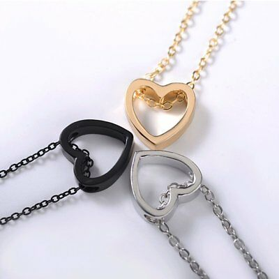 Women Heart Charm Necklace Pendant Choker Chain Gold Silver Black Jewelry Gift