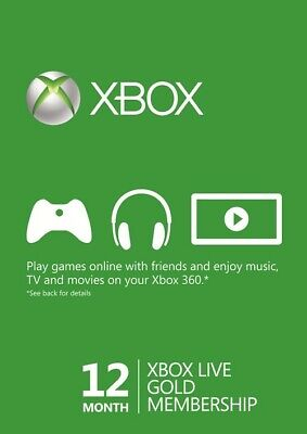 Microsoft 12 Month Xbox Live Gold Membership Subscription Quick Delivery