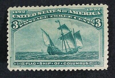 CKStamps: US Stamps Collection Scott#232 3c Columbian Mint H OG Gum Disturb