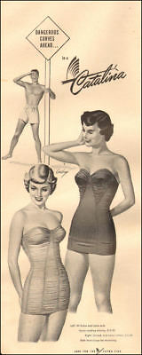 5a5497bf68 1950 vintage Ad CATALINA swim suits two pinup style models bathing suits  102318