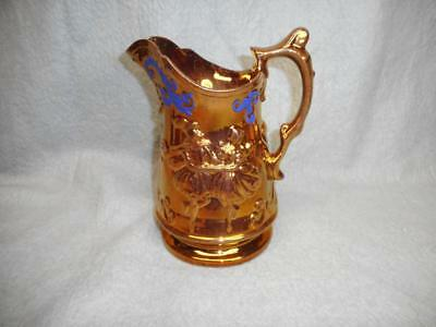 "Vintage Copper & Blue Lusterware Pitcher 8"" Tall N/r"