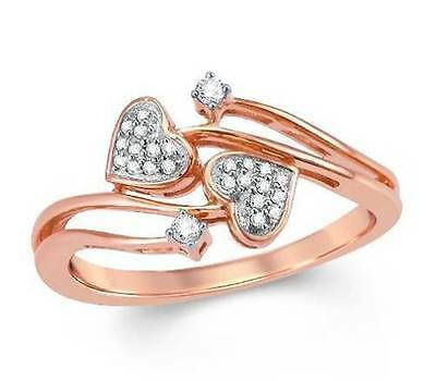 10k or Rose Bague Diamant Blanc Double Coeur Bypass .10ct Taille 6 -