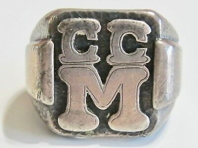 Arts And & Crafts Sterling Silver C C M Signet Initial Letter Monogram Mens Ring