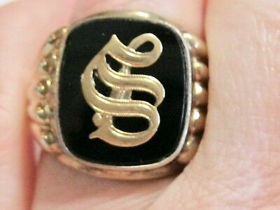 Victorian Sterling Silver 10K Yellow Gold Signet Initial Letter S Mans Mens Ring