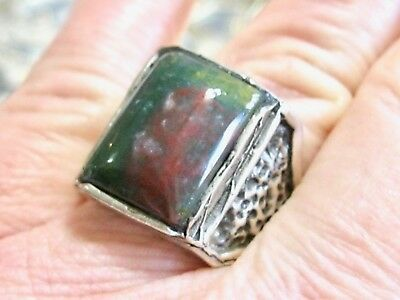 Vintage Arts And Crafts Deco 925 Sterling Silver Bloodstone Mans Mens Ring 9.5