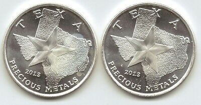 2-2013 Texas Metal Cowboy/ Horse Style 1-Troy oz. Rounds.9999 Silver
