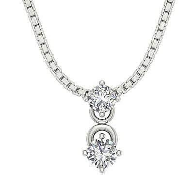 Solitaire Pendant SI1 G 0.60Ct Natural Round Diamond 14K White Yellow Rose Gold