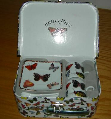 Paul Cardew Butterflies Porcelain Tea set for 2 in its own case signed by artist