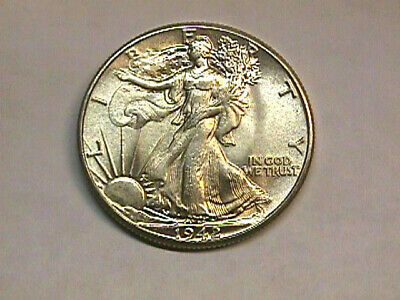 Uncirculated 1942 Walking Liberty Half Dollar.. Free Shipping.
