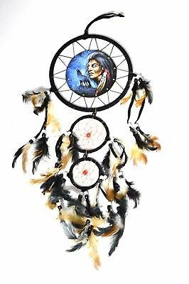 INDIAN WOLF EAGLE FEATHER Dream Catcher Handmade Traditional String Natural Art