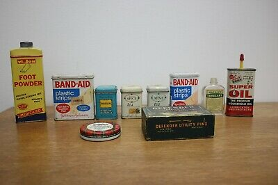 VINTAGE LOT of 10 Tins & Bottle Tea, MEDICINE, Oil, Scotch, Band-Aid - Free Ship
