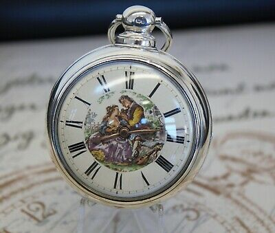 Antike ARON YOUNG Spindel Taschenuhr pair case verge pocket watch painted dial