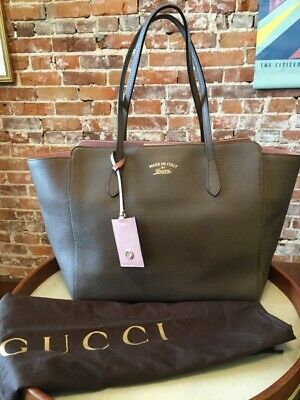 834bd4d8a476 Gucci Taupe Brown & Pink Leather Italy Swing Tote Shopper Purse & Dustbag