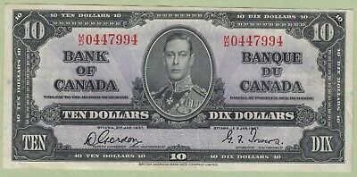1937 Bank of Canada 10 Dollars Note - Gordon/Towers - M/D0447994 - EF
