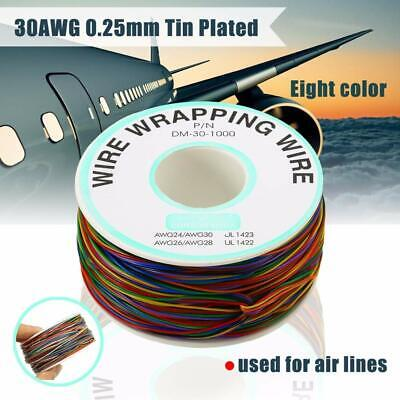 280M 0.25MM 30AWG Tin Plated Copper 8-Wire Wrapping Wire Colored Test Cable Reel