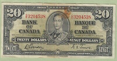 1937 Bank of Canada 20 Dollars Note - Gordon/Towers - C/E3204538 - VF (Stain)