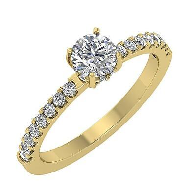 Solitaire Wedding Ring I1 G 0.90 Ct Natural Round Cut Diamond 14K Solid Gold