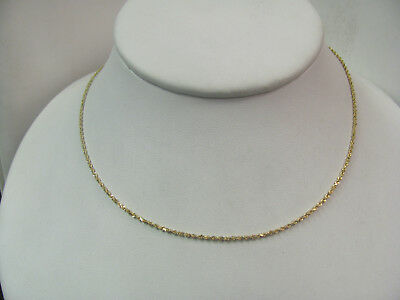 """14K Yellow Gold Rope Link Necklace With Safety Clasp 22"""" W848"""