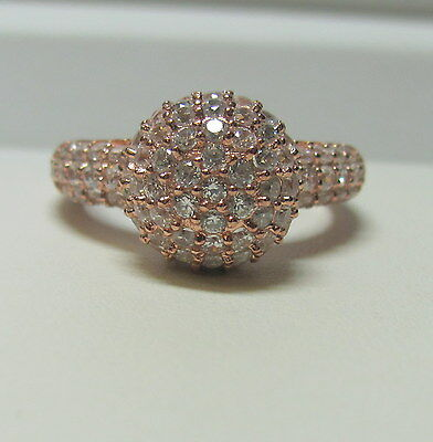 Rose Colored 925 Sterling Silver Cubic Zirconia Cluster Ring Size 8 S676