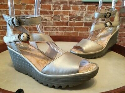 244ec31835c Fly London Silver Leather Yisk Wrap Around Strap Wedge Sandals 38 7 7.5 NEW