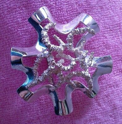 Vintage GS solid sterling silver 925 large Brooch v good condition