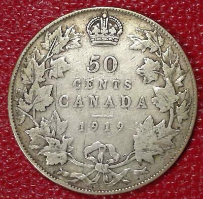 1919 Canada Silver 50 Cents Nice Canadian Coin Vg #c216