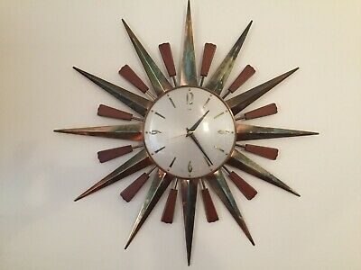 Metamec Sunburst Starburst Mid Century 1960's Large Brass and Teak Clock