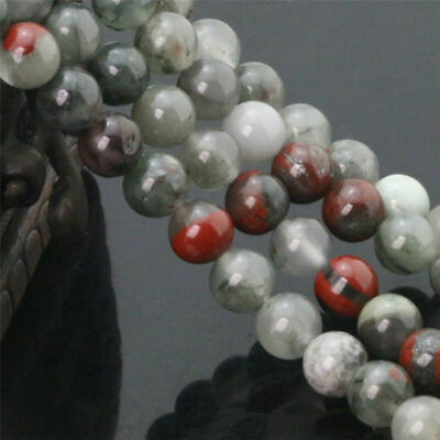 Natural African Beads Beads Bloodstone Semi Round Gemstone Loose 6/8/10/12MM