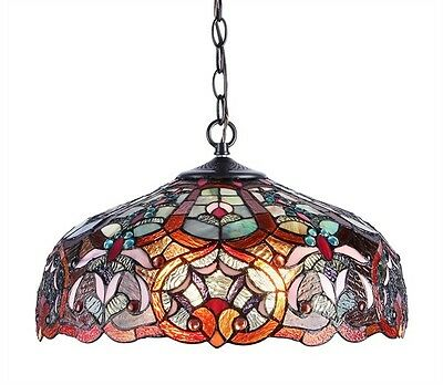 """Tiffany Style Stained Glass Ceiling Pendant Light 18"""" Shade Victorian Design"""