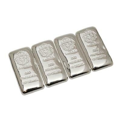 4 x 100g Cast Silver Bars by Scottsdale Mint .999 Silver Old Pour Style  #A335