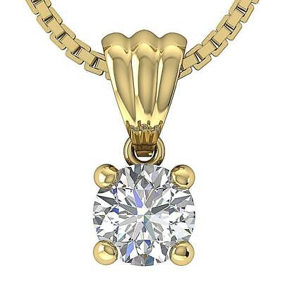 Solitaire Pendant Necklace I1 G 0.70 Ct Round Cut Diamond 14K Solid Yellow Gold