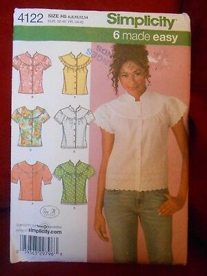 Simplicity Easy Blouse In 6 Styles Pattern 4122 Size 6 8 10 12 14 Uncut