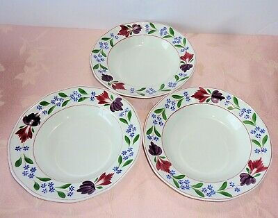 """Adams Wedgwood OLD COLONIAL 3 Rimmed Soup Bowls 8"""" Ironstone Red Blue Floral"""