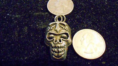 bling pewter celt skull biker DEMON GOTH pendant charm hip hop necklace JEWELRY