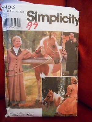 Vtg Simplicity Cattle Kate Carriage & Buggy Coat Pattern 9453 Size 14 16 18 20