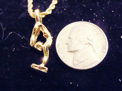 bling gold plated gymnastic OLYMPIC GYM FASHION pendant charm necklace JEWELRY