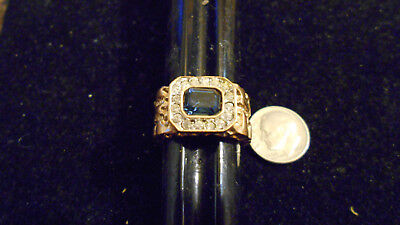 bling gold plated cubic zirconia blue sapphire men fashion nugget ring size13 gp