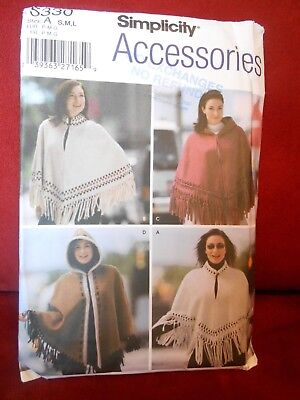 Simplicity Capes And Poncho's Pattern 5330 Size Small Medium Large